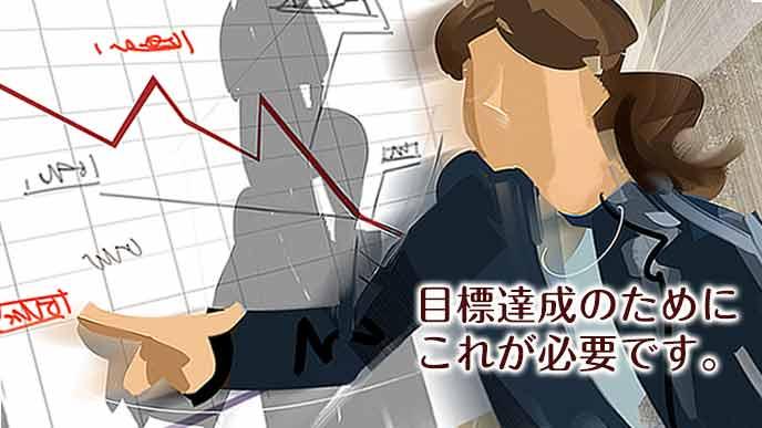 折れ線グラフで将来の展望を具体的に語る社員
