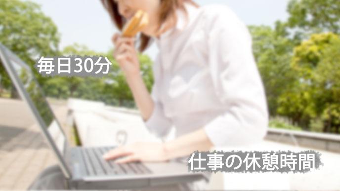 食べながらノートパソコンを操作する女性