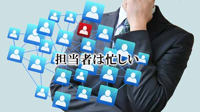 多くのメールを受け取る会社の担当者