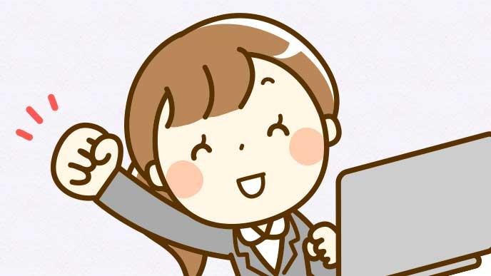 笑顔でガッツポーズをしてる女性社員のイラスト