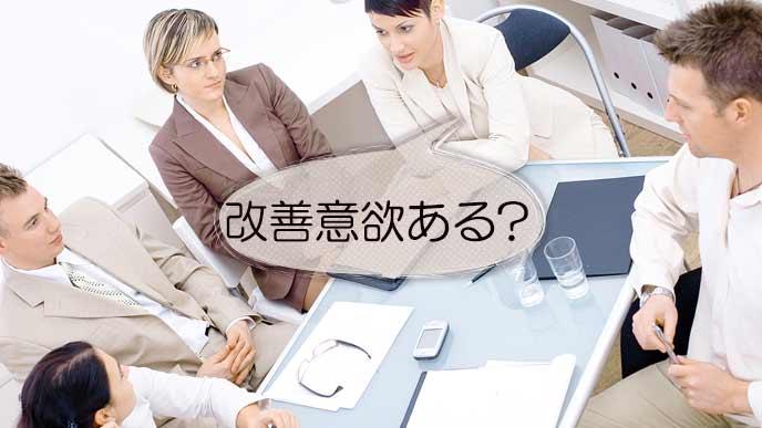 改善の会議をする職員