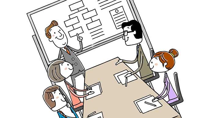 会社で行われてる仕事を説明されてる社会人インターン達のイラスト