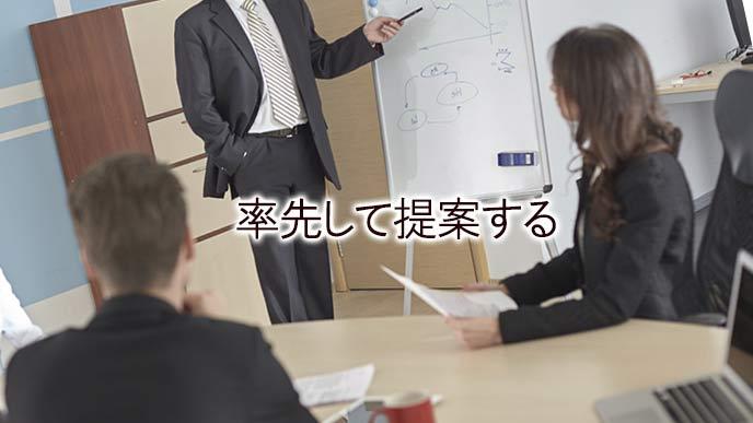会議でプレゼンする男性
