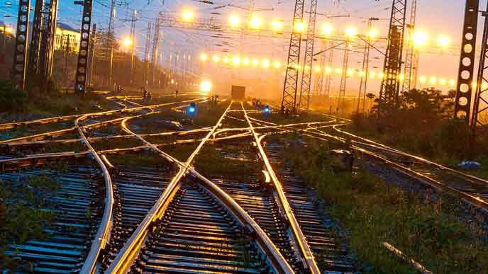夜行列車が走るレール