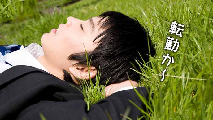 芝生の上に寝そべるスーツ姿の男性