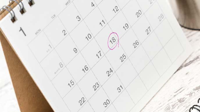 卓上カレンダーに○印