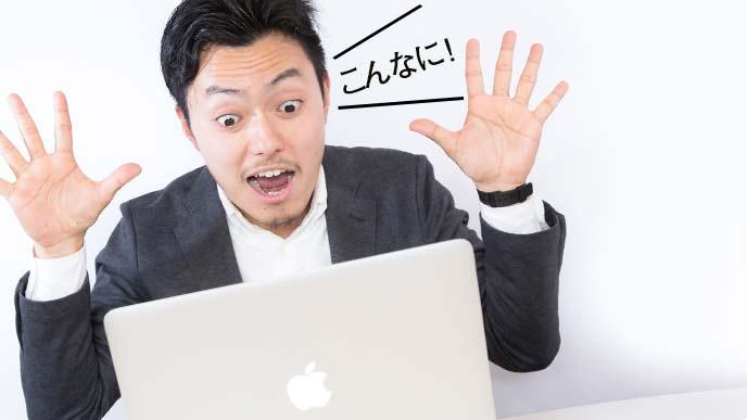 パソコンを見ながら驚く男性社員