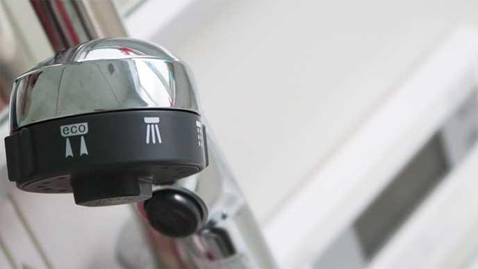 ボタン付きのシャワーヘッド