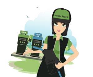 ガソリンスタンドで働く女性