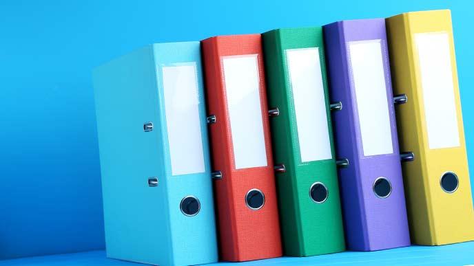 色分けしたファイルボックス