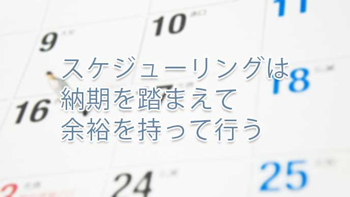 カレンダーの日付をみつめるビジネスマンの模型