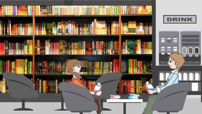 大量の漫画本が並ぶ本棚