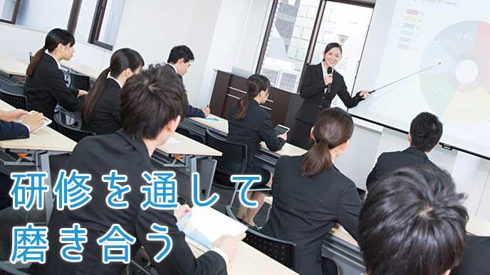 社内研修を受講している会社員達