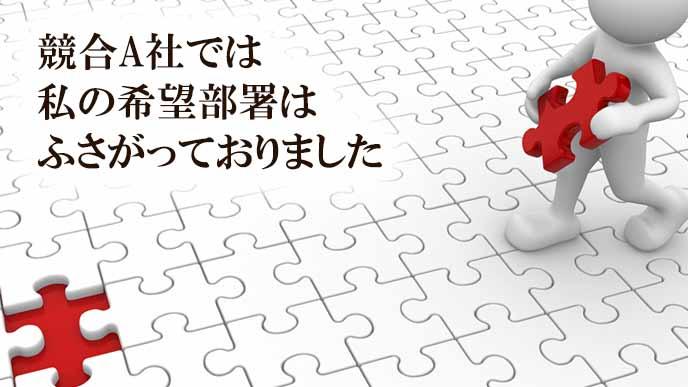 パズルの空きに自分のもつピースをはめようとする人