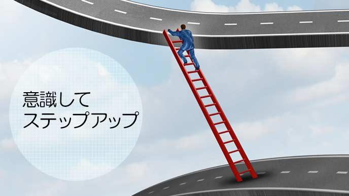 梯子を上って