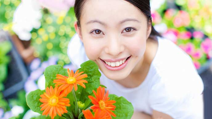 大好きな花に囲まれて