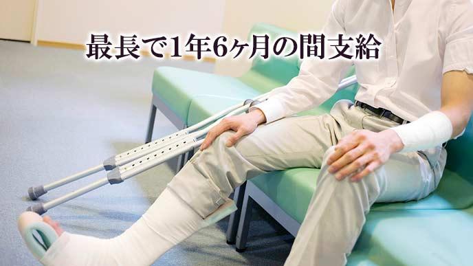 怪我した男性が病院の長椅子に座る