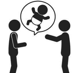子供を言い訳に退席しようとしている人のイメージ
