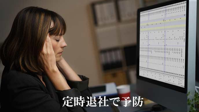 パソコンのモニターの前で頭を押さえ目を閉じる女性社員