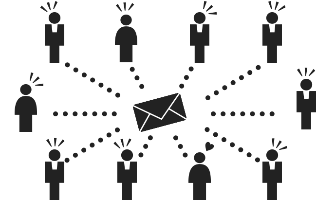 メールを送るイメージのピクトグラム