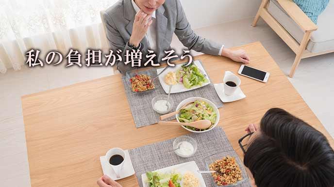朝食を取りながら不満を言う妻