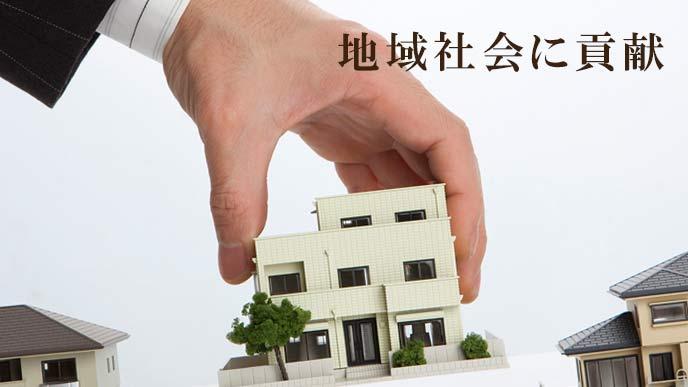 街に家を置く信用金庫の手