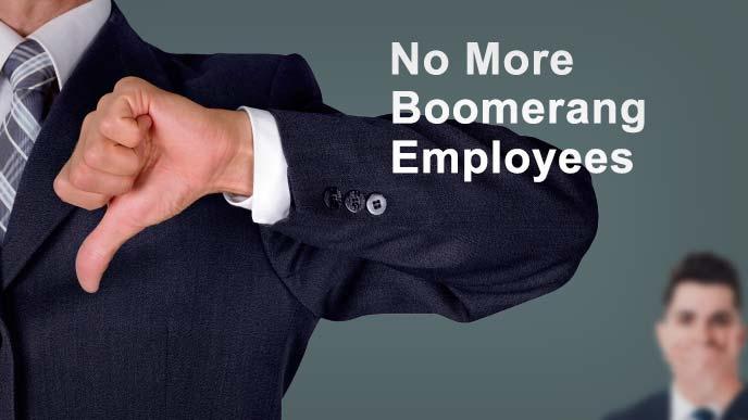 これ以上の出戻り転職はない(No More Boomerang Enployee)とサムズダウンする男性