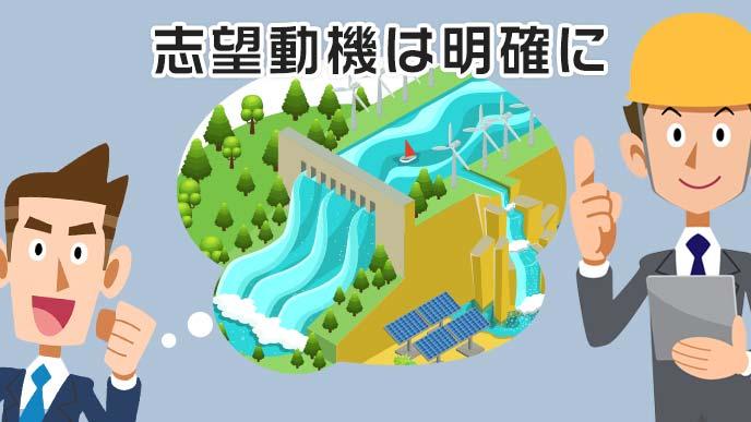 ダム建設という志望動機を明確にする男性のイラスト