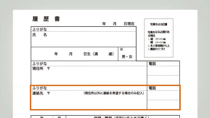 連絡先欄をオレンジ色の枠で囲った履歴書