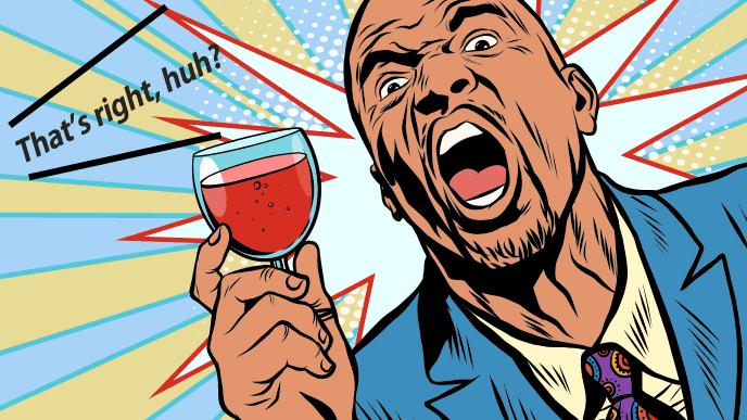酒を飲んで荒ぶる上司のイラスト