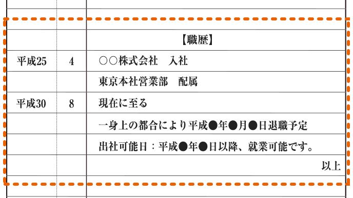 【職歴】平成25年4月〇〇株式会社 入社 東京本社営業部配属 平成30年8月 現在に至る(一身上の都合により平成●年●月●日退職予定)出社可能日:平成●年●日以降、就業可能です。