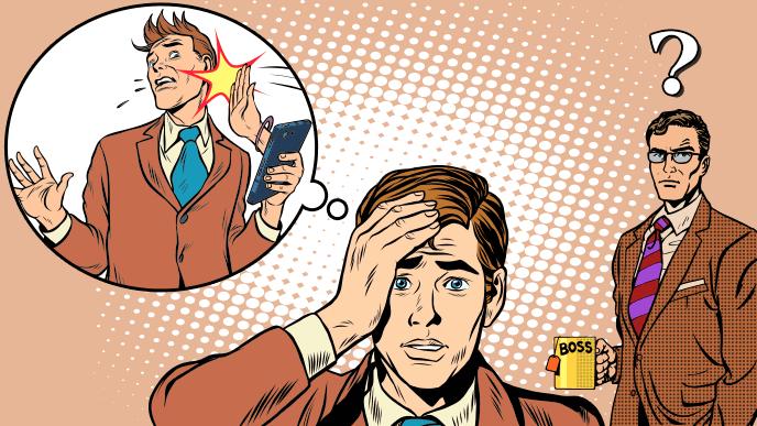 女性関係のもつれで困っている男性とそれを見て不思議がる上司のイラスト