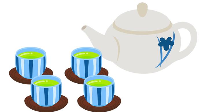 茶托に乗った湯呑と急須のイラスト