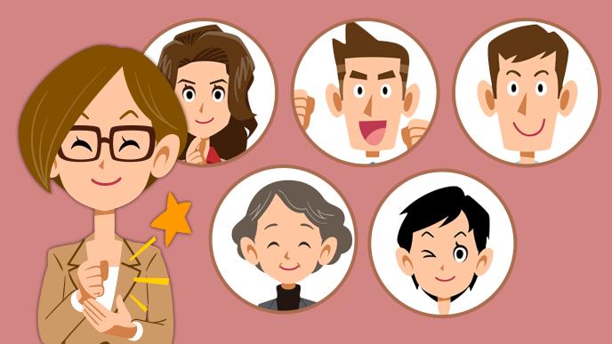 スタッフ5人を思い浮かべ納得の女性のイラスト