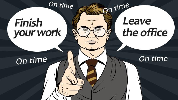 定時に仕事を終えろ、定時に帰れと英語で指示する上司のイメージイラスト