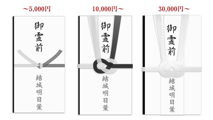 金額別香典袋の例3つのイラスト