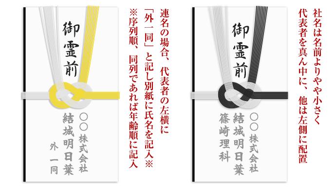 会社関係での香典袋の書き方のサンプルイラスト
