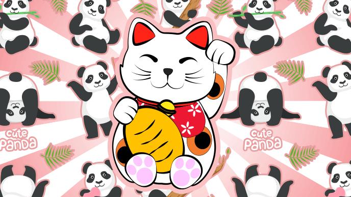 招き猫とパンダのイラスト