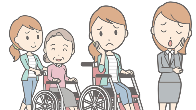 車椅子を押したり車椅子に乗ったりいろいろ大変女性のイラスト