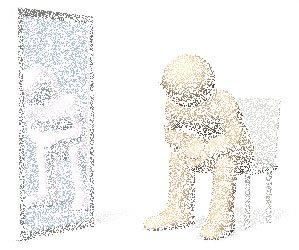 鏡をみる人のイラスト
