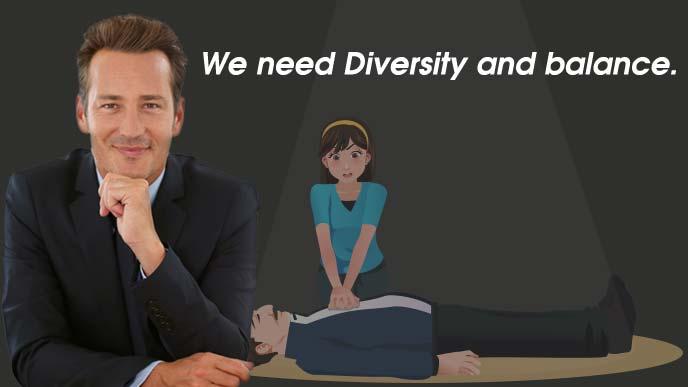 多様性とバランスを求める男性