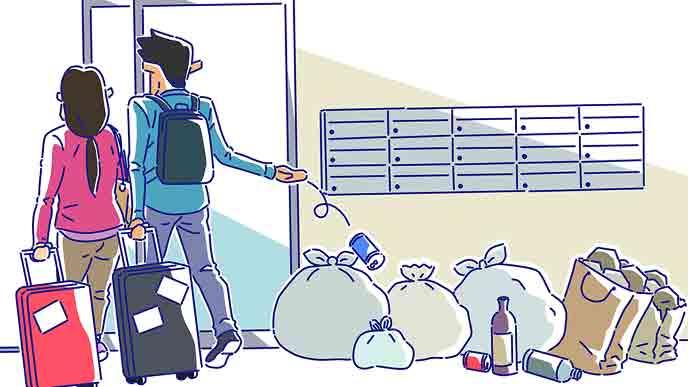 マンションの民泊でゴミを捨てる観光客