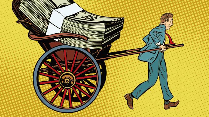 人力車でお金を運ぶ男性のイラスト