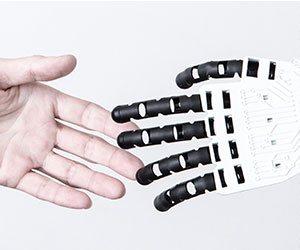 握手する人とロボットの手