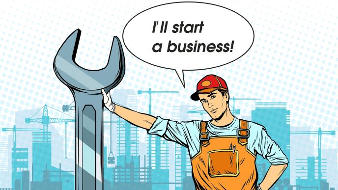 専門技能を持った男性が起業をしようとしているイラスト