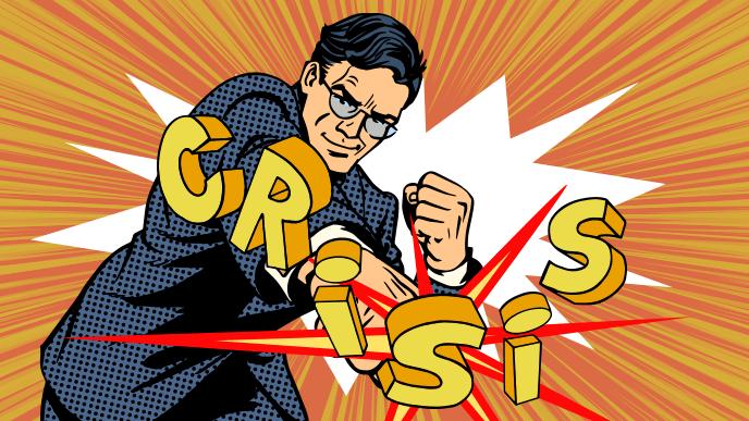 危機を殴り飛ばすタフすぎる起業家男性のイラスト