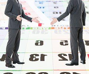 ビジネスメンとカレンダー