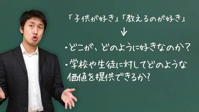 「子供」と「教えること」の、どこがどのように好きなのかが大切と熱弁をふるう先生