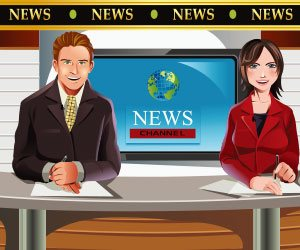 ニュースを読み上げるアナウンサー