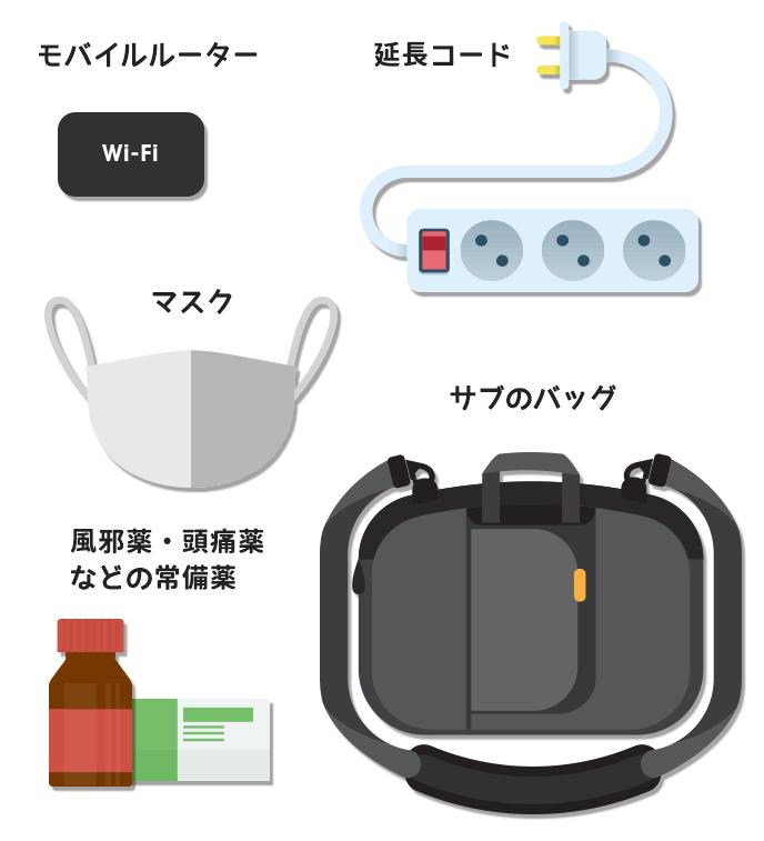 1.Wifiルーター 2.延長コード 3.マスク 4.サブのバッグ 5.風邪薬・頭痛薬などの常備薬